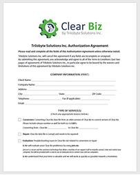 Clear Biz Authorization Agreement Picture