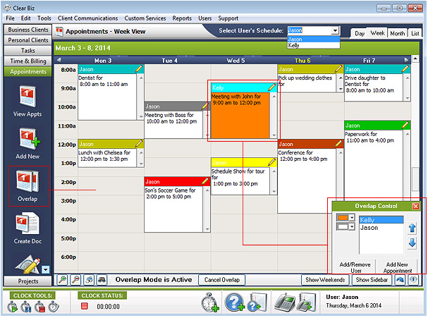 Overlap Appointments Screenshot