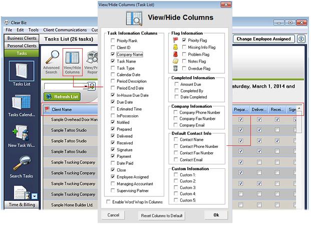 View & Hide Columns Screenshot