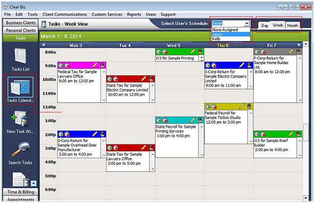 Tasks Calendar Screenshot