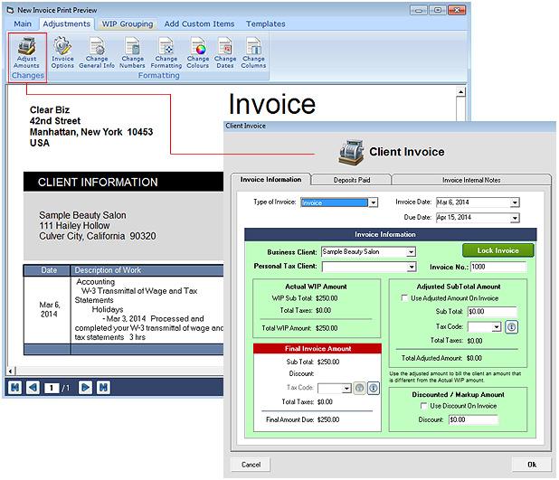 Invoice & Client Deposit Screenshot