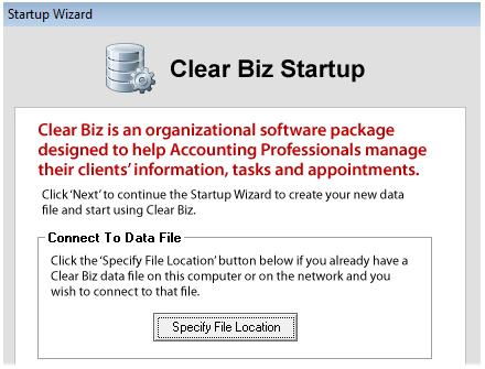 Clear Biz Startup Screenshot (Data File)
