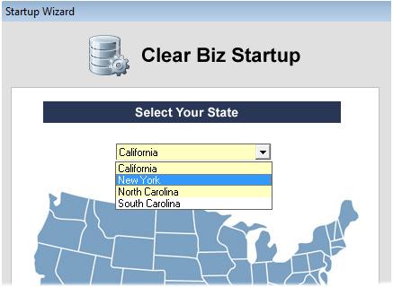 Clear Biz Startup Screenshot (Select State)