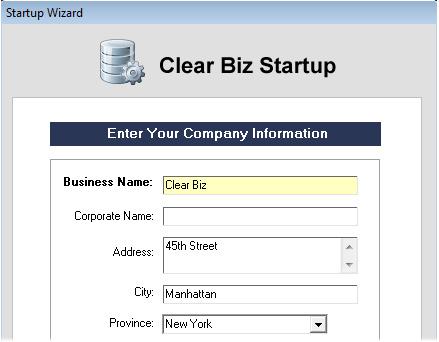 Clear Biz Startup Screenshot (Company Information)