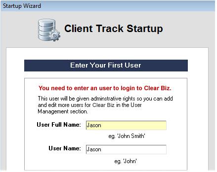 Clear Biz Startup Screenshot (User Information)