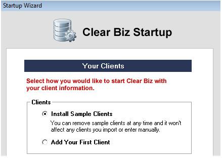 Clear Biz Startup Screenshot (Sample Clients)