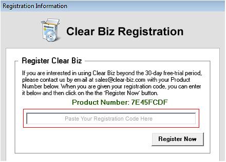 Register Clear Biz Screenshot