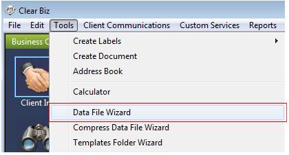 Data File Menu Screenshot