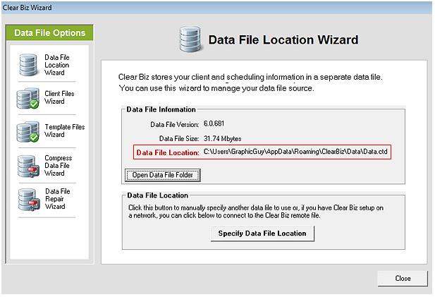 Data File Location Screenshot