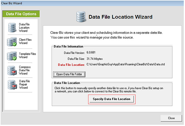 Specify Data File Location Screenshot