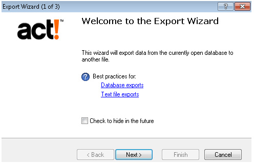 Export Act Screenshot (Step 2)