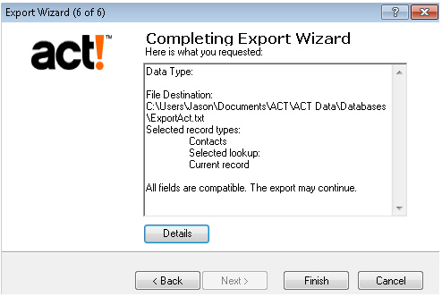 Export Act Screenshot (Step 7)