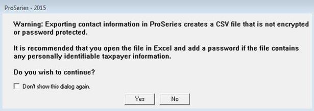 Export ProSystem Screenshot (Step 1)