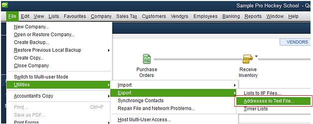 Export QuickBooks Desktop Screenshot (Step 1)