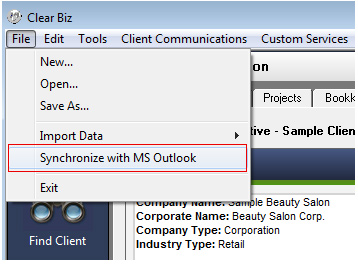 Synchronize with Outlook Screenshot (Step 1)