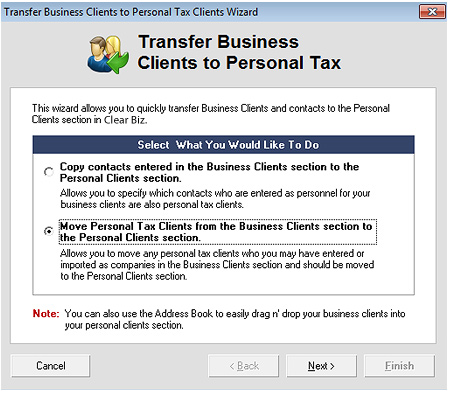 Move Business Clients Screenshot (Step 2)