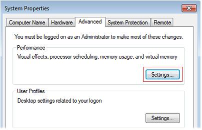 Windows Server Advanced Tab Screenshot